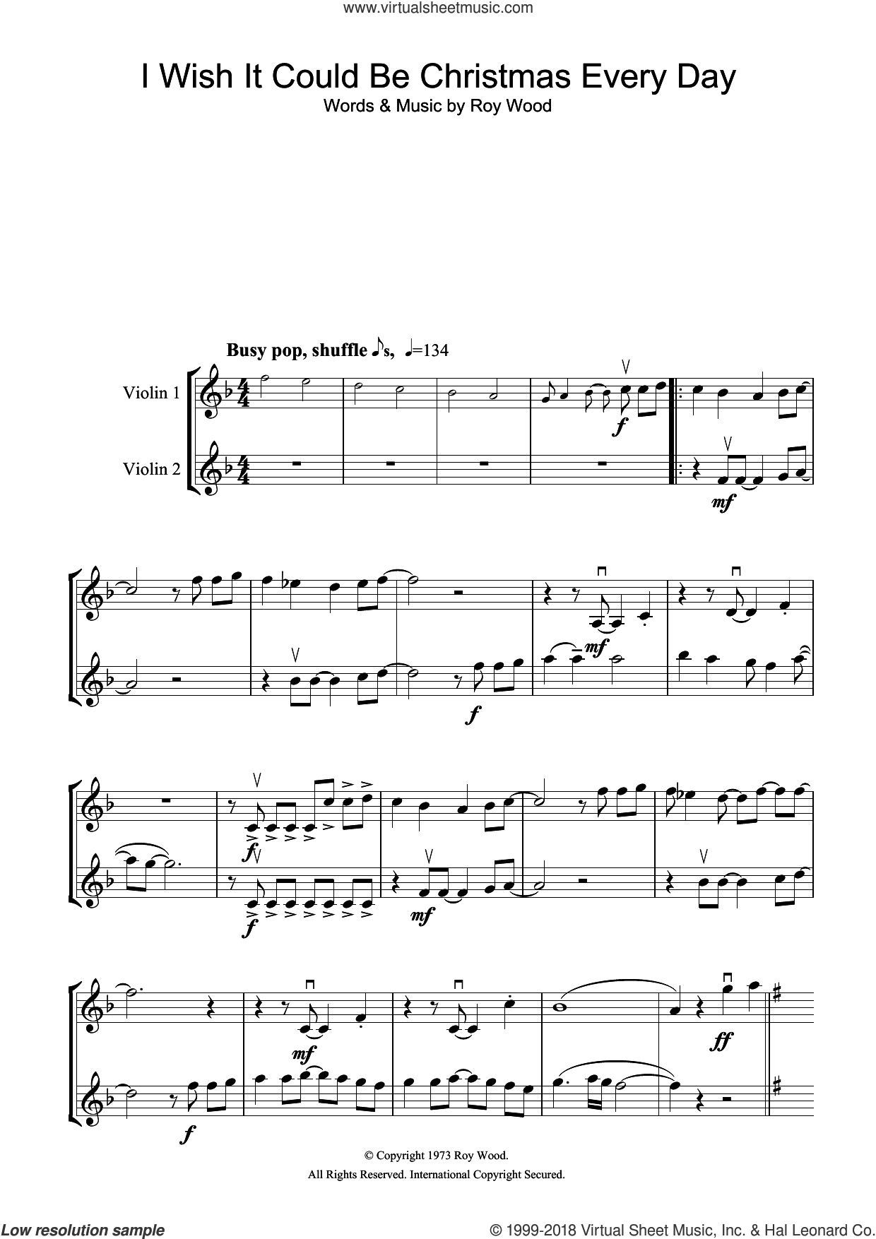 I Wish It Could Be Christmas Every Day sheet music for two violins (duets, violin duets) by Wizzard and Roy Wood, intermediate skill level