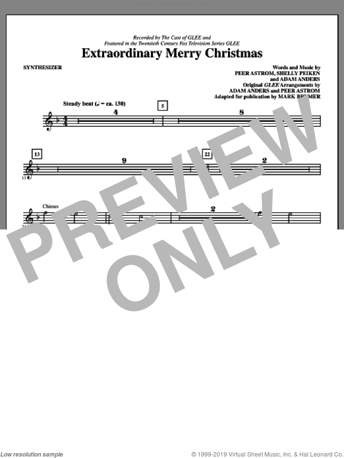 Extraordinary Merry Christmas (complete set of parts) sheet music for orchestra/band (Rhythm) by Peer Astrom, Shelly Peiken, Glee Cast and Mark Brymer, intermediate. Score Image Preview.