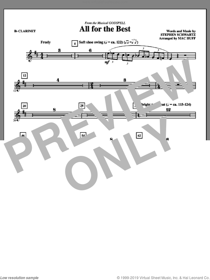 All For The Best (complete set of parts) sheet music for orchestra/band by Mac Huff and Stephen Schwartz, intermediate skill level