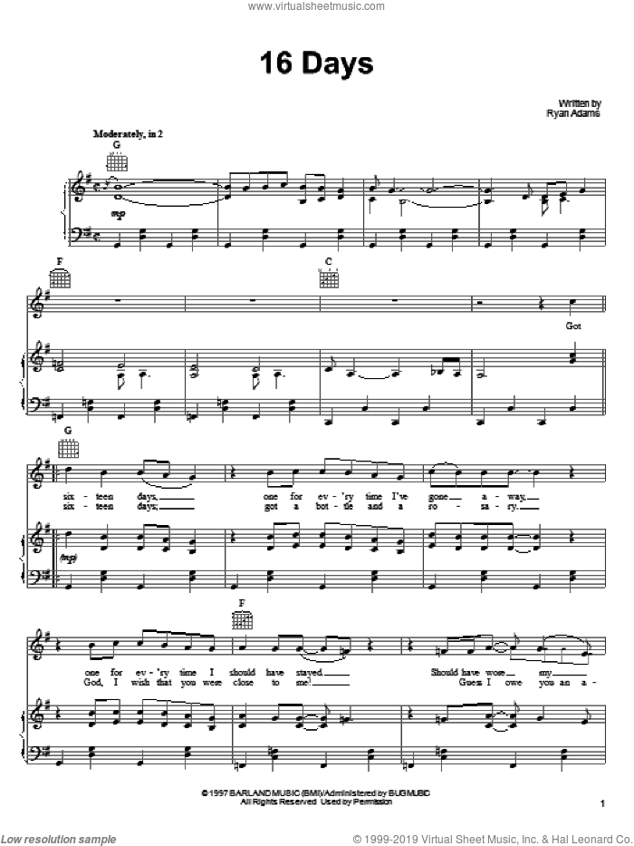 16 Days sheet music for voice, piano or guitar by Ryan Adams, intermediate voice, piano or guitar. Score Image Preview.