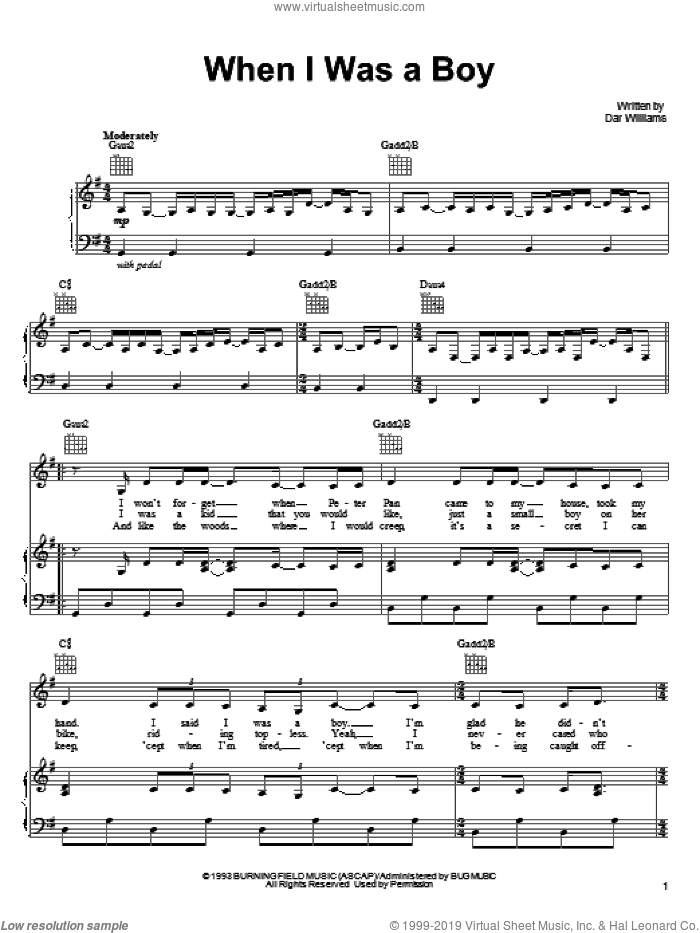 When I Was A Boy sheet music for voice, piano or guitar by Dar Williams, intermediate. Score Image Preview.