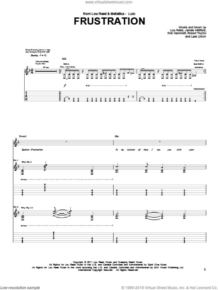 Frustration sheet music for guitar (tablature) by Lou Reed & Metallica, James Hetfield, Kirk Hammett, Lou Reed and Robert Trujillo, intermediate skill level