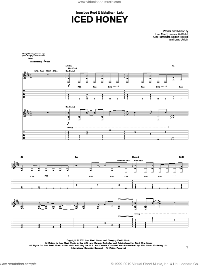 Iced Honey sheet music for guitar (tablature) by Robert Trujillo, James Hetfield, Lars Ulrich and Lou Reed. Score Image Preview.
