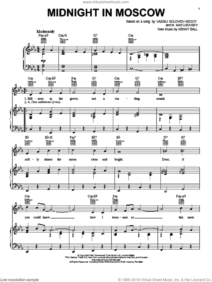 Midnight In Moscow sheet music for voice, piano or guitar by Kenny Ball. Score Image Preview.