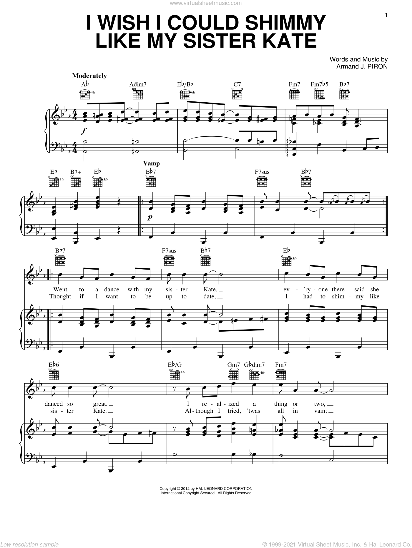 I Wish I Could Shimmy Like My Sister Kate sheet music for voice, piano or guitar by Armand Piron. Score Image Preview.