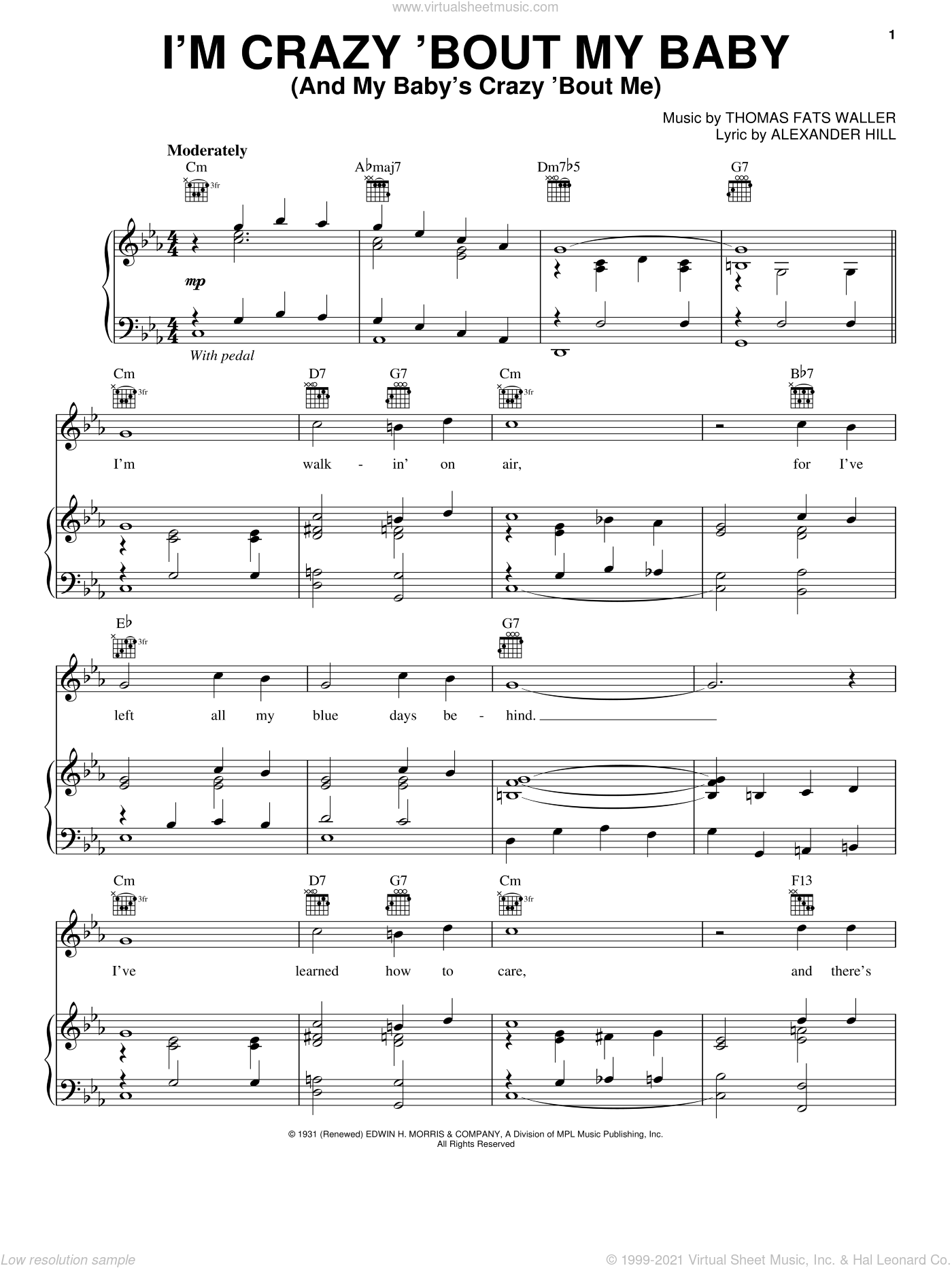 I'm Crazy 'Bout My Baby (And My Baby's Crazy 'Bout Me) sheet music for voice, piano or guitar by Alexander Hill and Thomas Waller, intermediate skill level