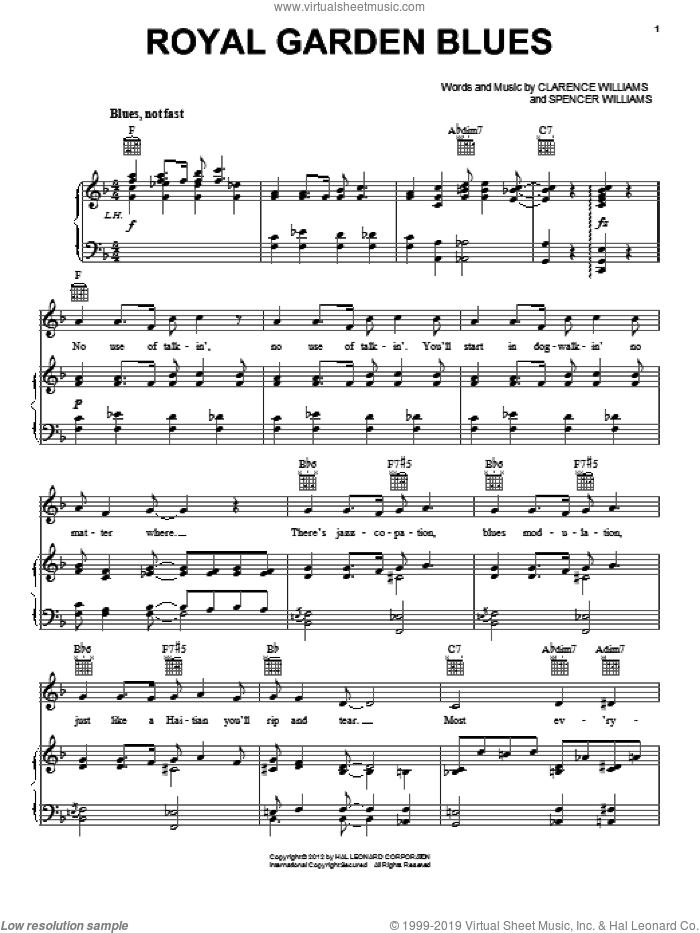 Royal Garden Blues sheet music for voice, piano or guitar by Spencer Williams and Clarence Williams, intermediate. Score Image Preview.