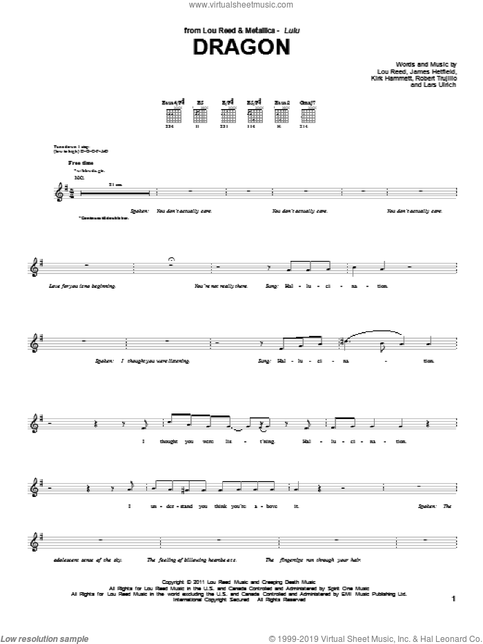 Dragon sheet music for guitar (tablature) by Lou Reed & Metallica and Lou Reed, intermediate