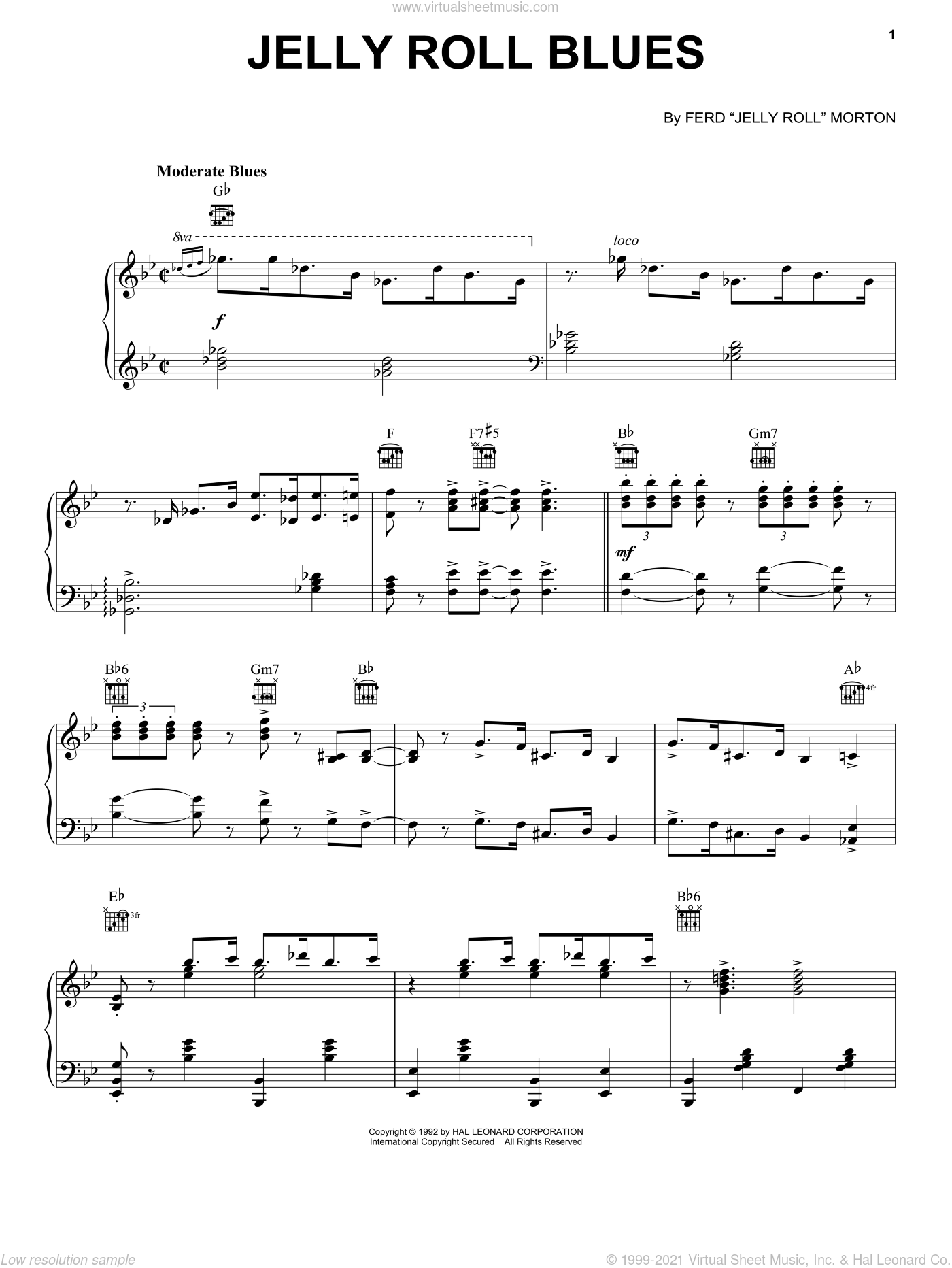 Jelly Roll Blues sheet music for voice, piano or guitar by Jelly Roll Morton, intermediate voice, piano or guitar. Score Image Preview.