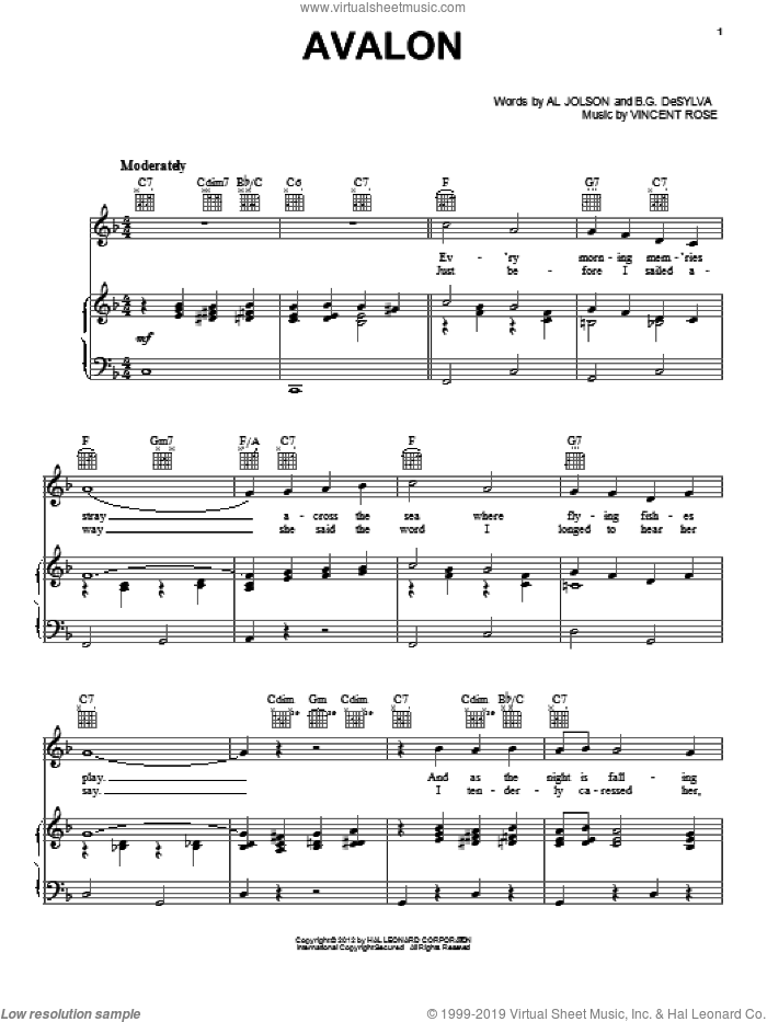 Avalon sheet music for voice, piano or guitar by Buddy DeSylva