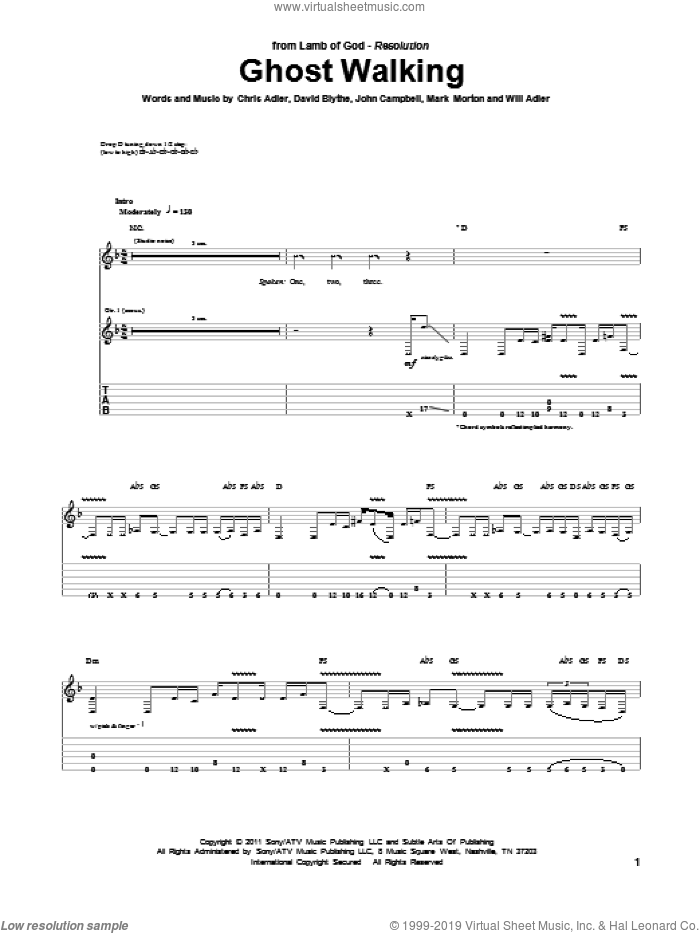 Ghost Walking sheet music for guitar (tablature) by Will Adler and Lamb Of God. Score Image Preview.
