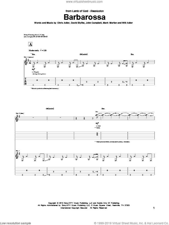 Barbarossa sheet music for guitar (tablature) by Will Adler and Lamb Of God. Score Image Preview.