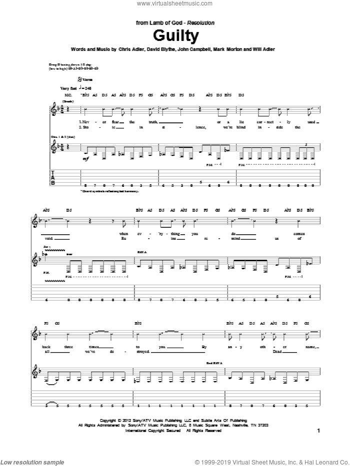 Guilty sheet music for guitar (tablature) by Will Adler and Lamb Of God. Score Image Preview.