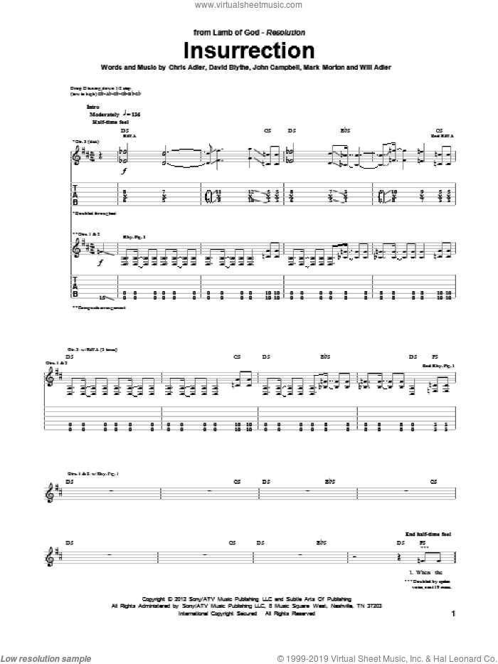 Insurrection sheet music for guitar (tablature) by Will Adler