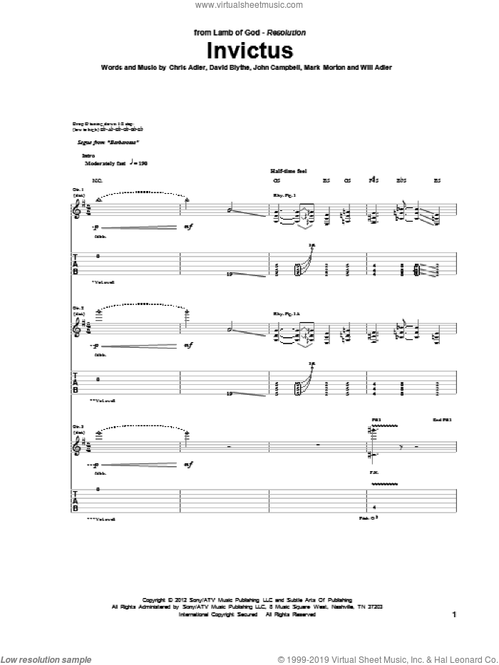 Invictus sheet music for guitar (tablature) by Will Adler