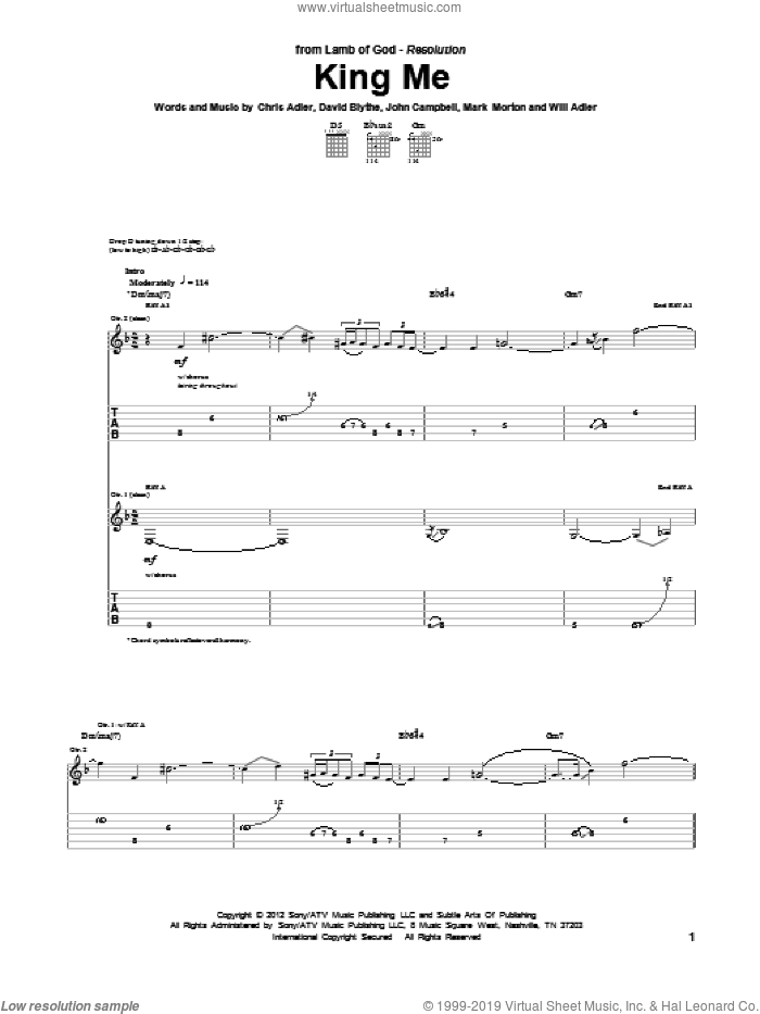 King Me sheet music for guitar (tablature) by Will Adler and Lamb Of God