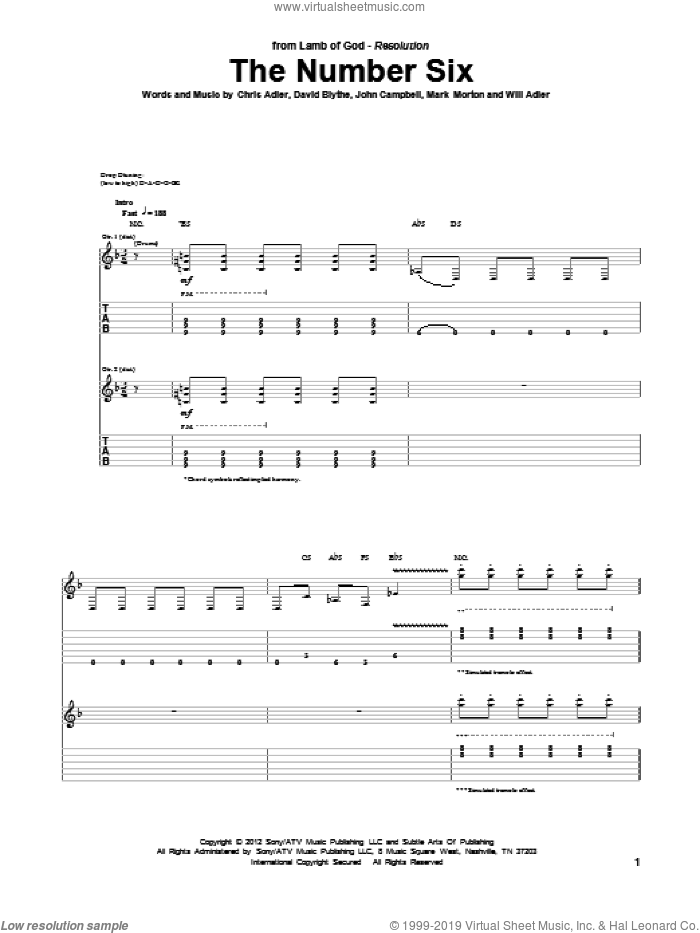 The Number Six sheet music for guitar (tablature) by Will Adler and Lamb Of God. Score Image Preview.