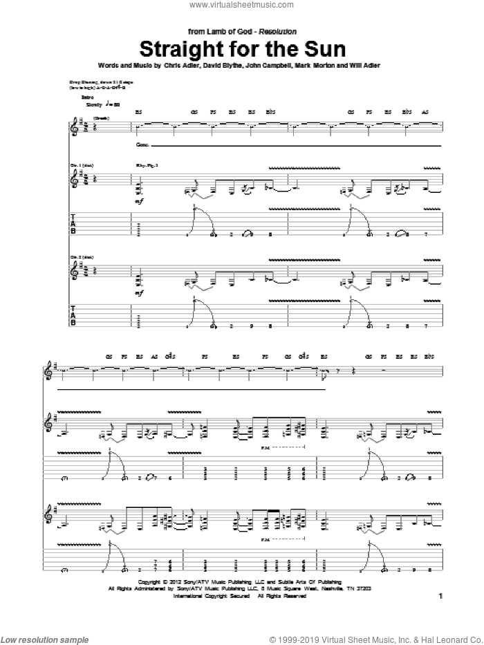 Straight For The Sun sheet music for guitar (tablature) by Will Adler and Lamb Of God