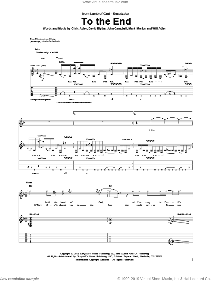 To The End sheet music for guitar (tablature) by Lamb Of God, Chris Adler, David Blythe, John Campbell, Mark Morton and Will Adler, intermediate