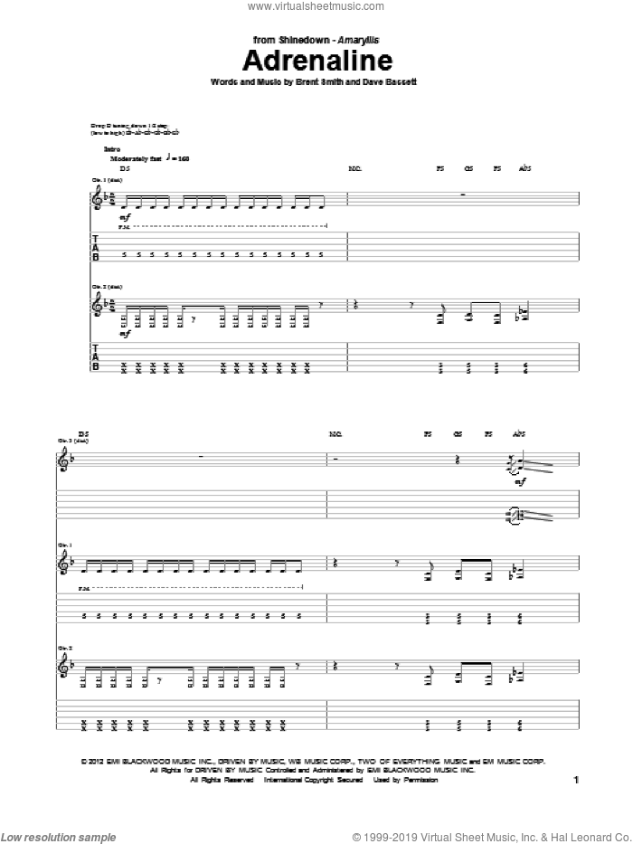 Adrenaline sheet music for guitar (tablature) by Shinedown, Brent Smith and Dave Bassett, intermediate. Score Image Preview.