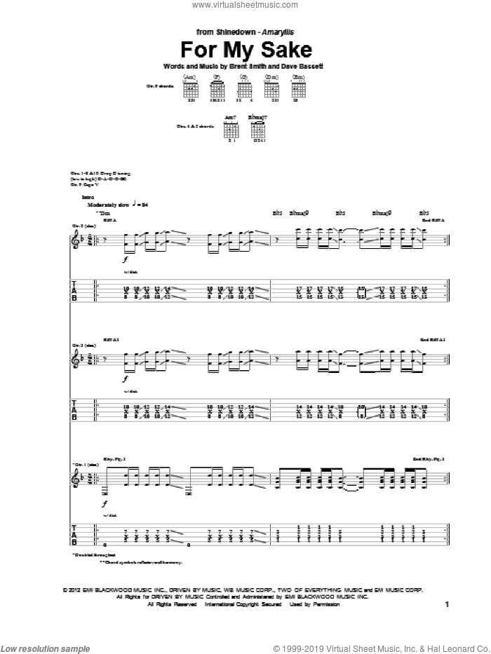 For My Sake sheet music for guitar (tablature) by Shinedown, Brent Smith and Dave Bassett, intermediate skill level