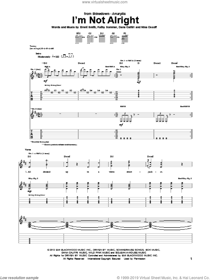 I'm Not Alright sheet music for guitar (tablature) by Nina Ossoff, Shinedown and Brent Smith