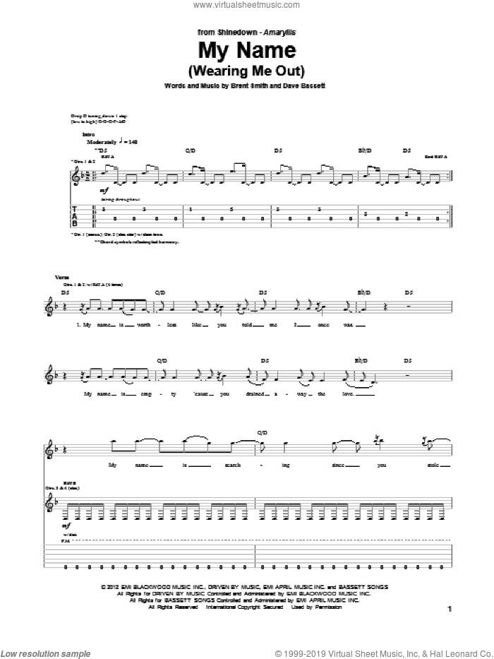 My Name (Wearing Me Out) sheet music for guitar (tablature) by Shinedown, Brent Smith and Dave Bassett, intermediate skill level