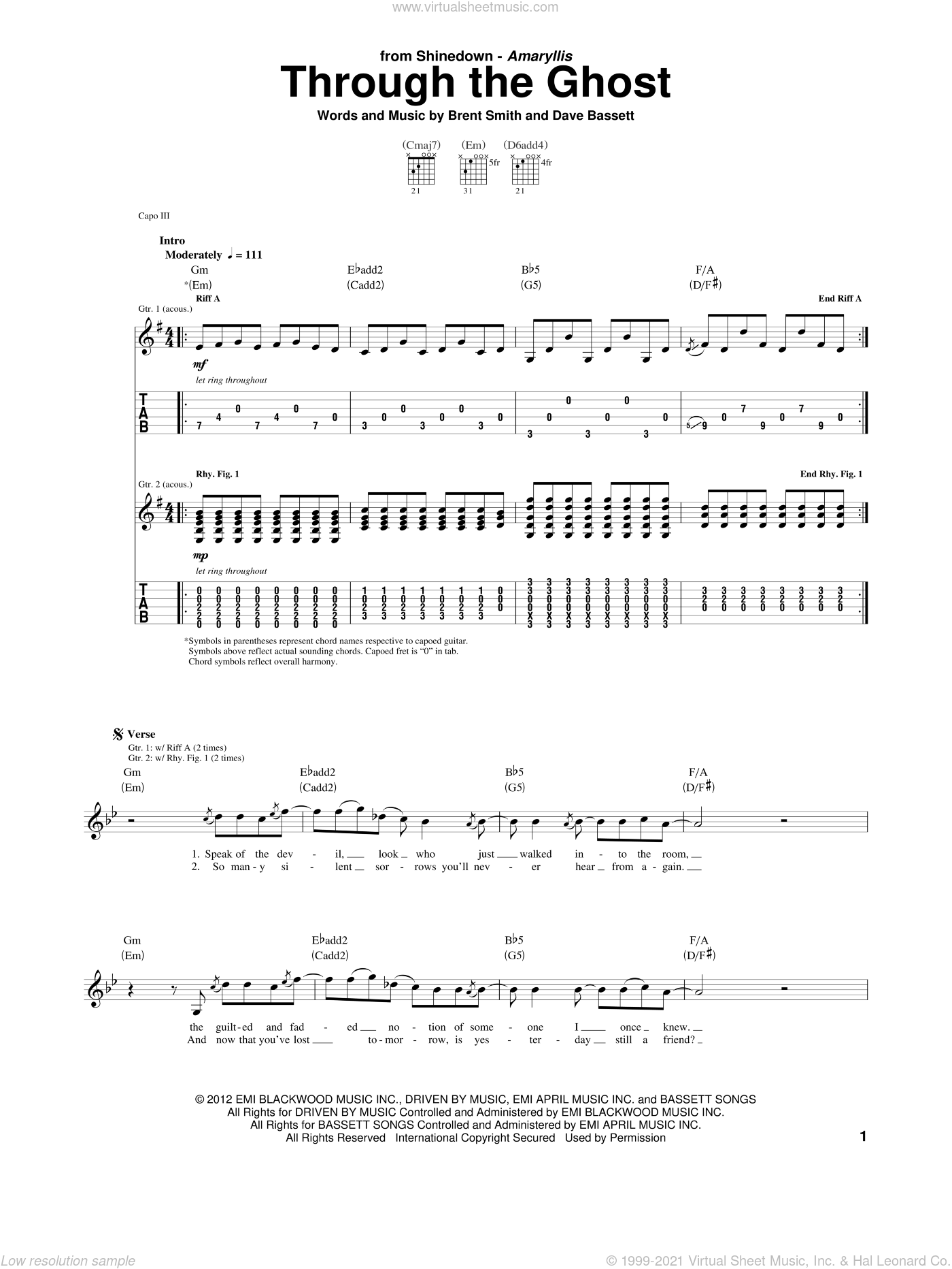 Through The Ghost sheet music for guitar (tablature) by Dave Bassett, Shinedown and Brent Smith. Score Image Preview.
