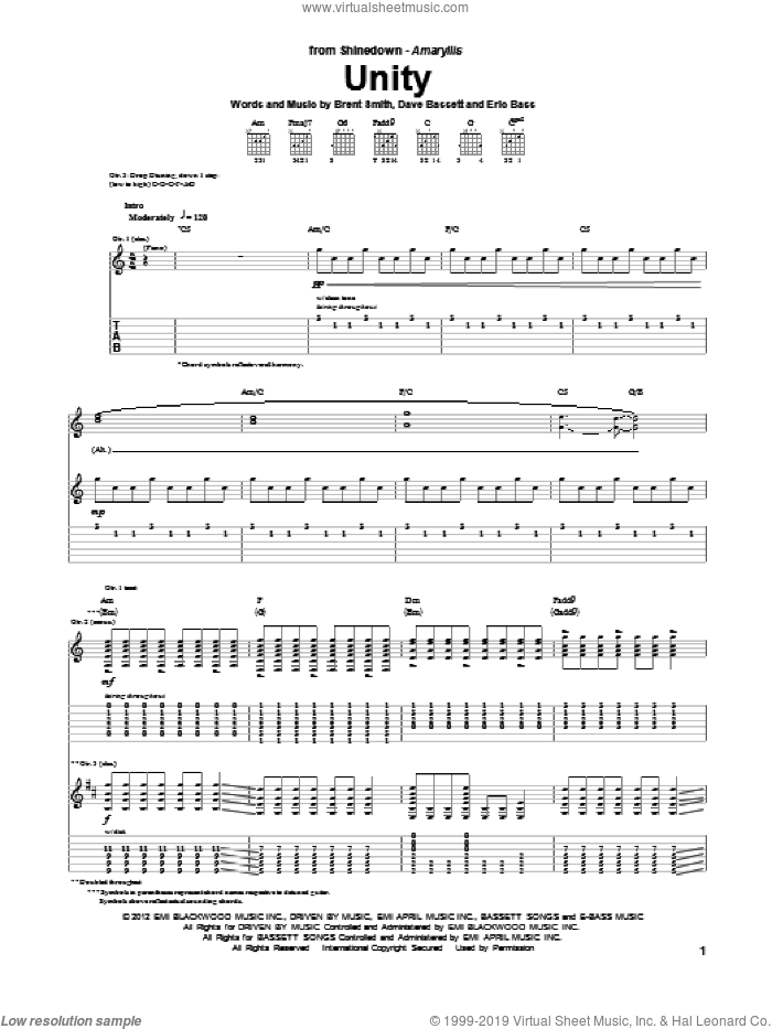 Unity sheet music for guitar (tablature) by Shinedown, Brent Smith and Dave Bassett. Score Image Preview.