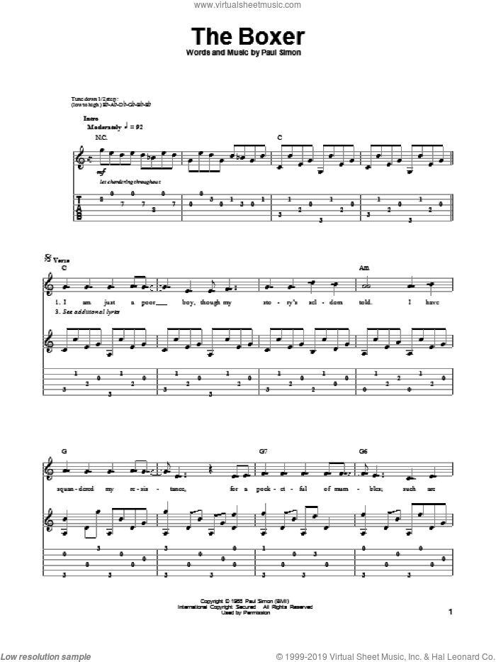 The Boxer sheet music for guitar (tablature, play-along) by Simon & Garfunkel and Paul Simon, intermediate skill level