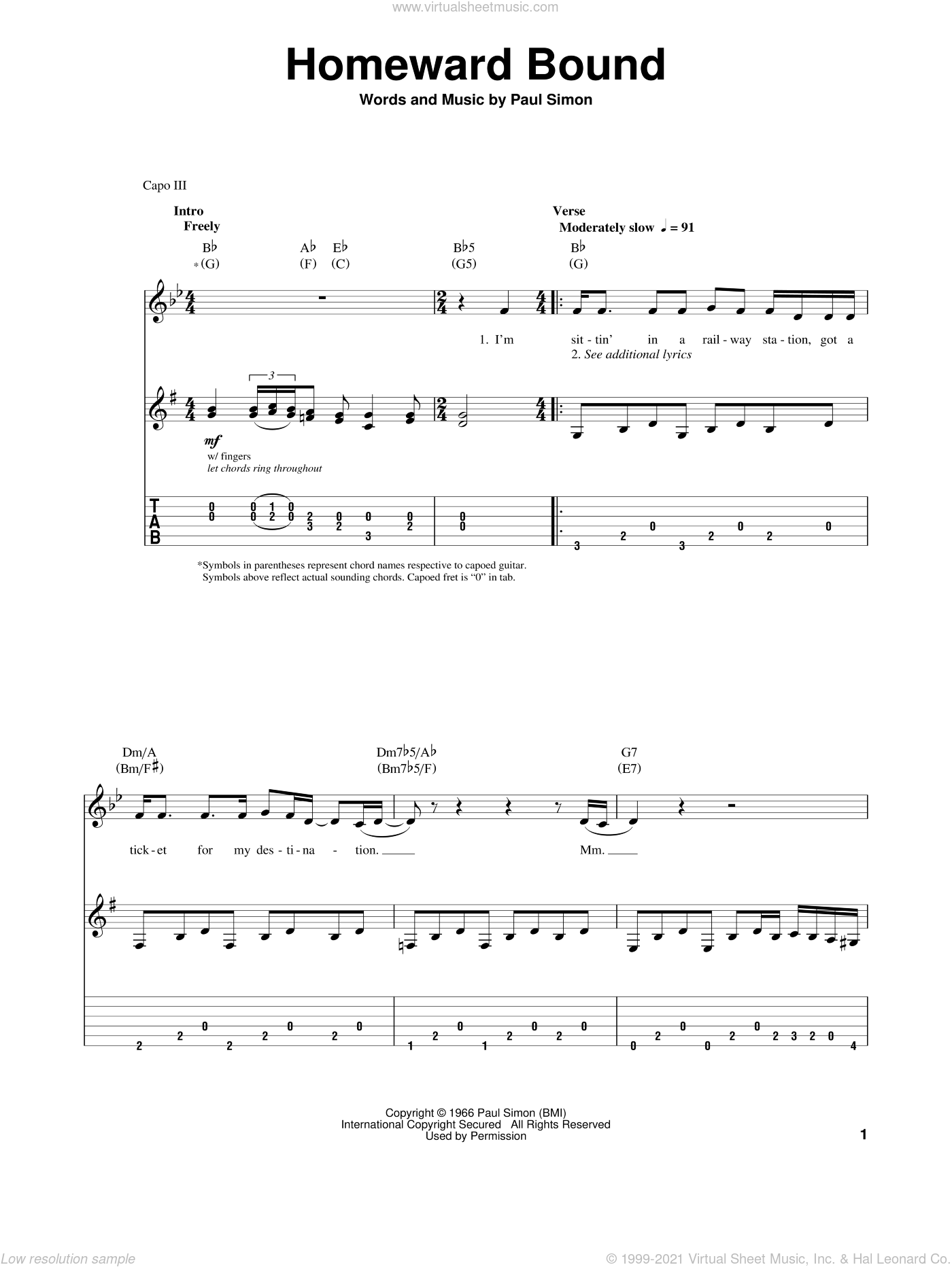 Homeward Bound sheet music for guitar (tablature, play-along) by Paul Simon and Simon & Garfunkel. Score Image Preview.