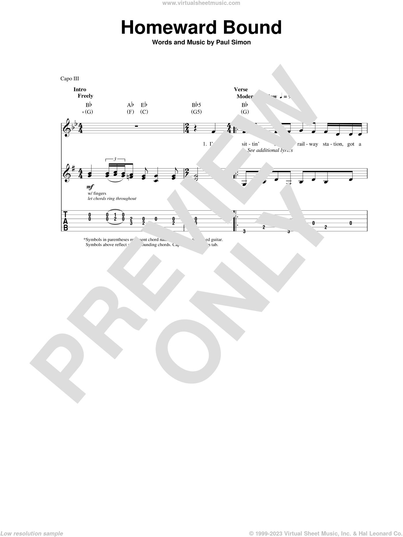 Homeward Bound sheet music for guitar (tablature, play-along) by Simon & Garfunkel and Paul Simon, intermediate skill level