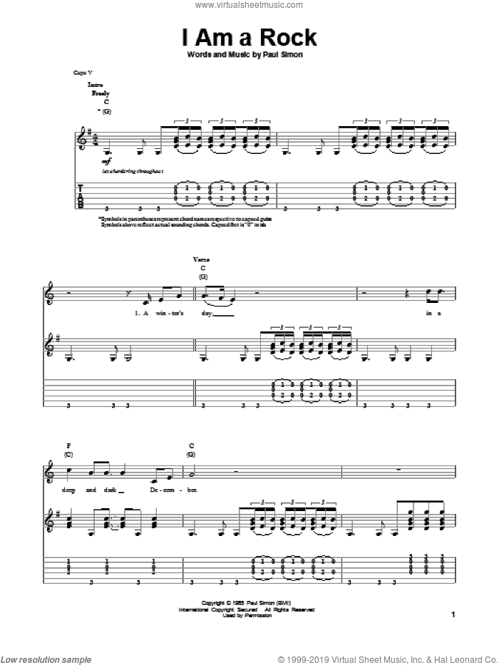 I Am A Rock sheet music for guitar (tablature, play-along) by Simon & Garfunkel and Paul Simon, intermediate. Score Image Preview.