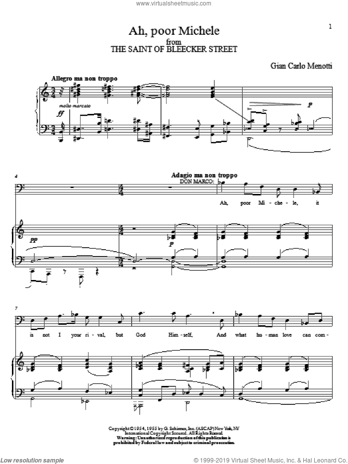 Ah, Poor Michele sheet music for voice and piano by Gian Carlo Menotti. Score Image Preview.