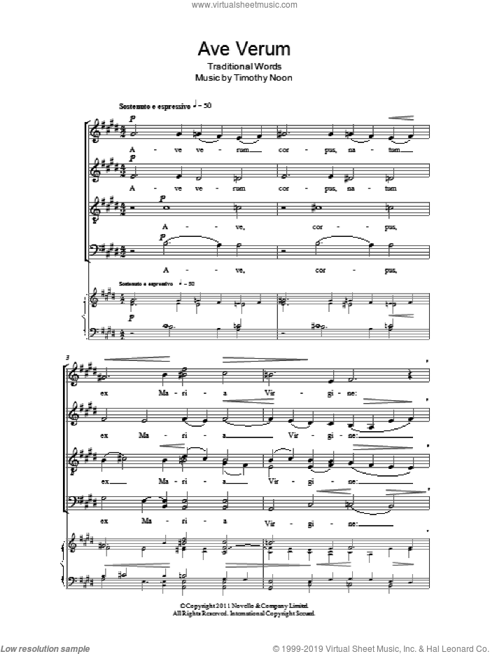 Ave Verum sheet music for choir (SATB: soprano, alto, tenor, bass) by Timothy Noon, classical score, intermediate skill level