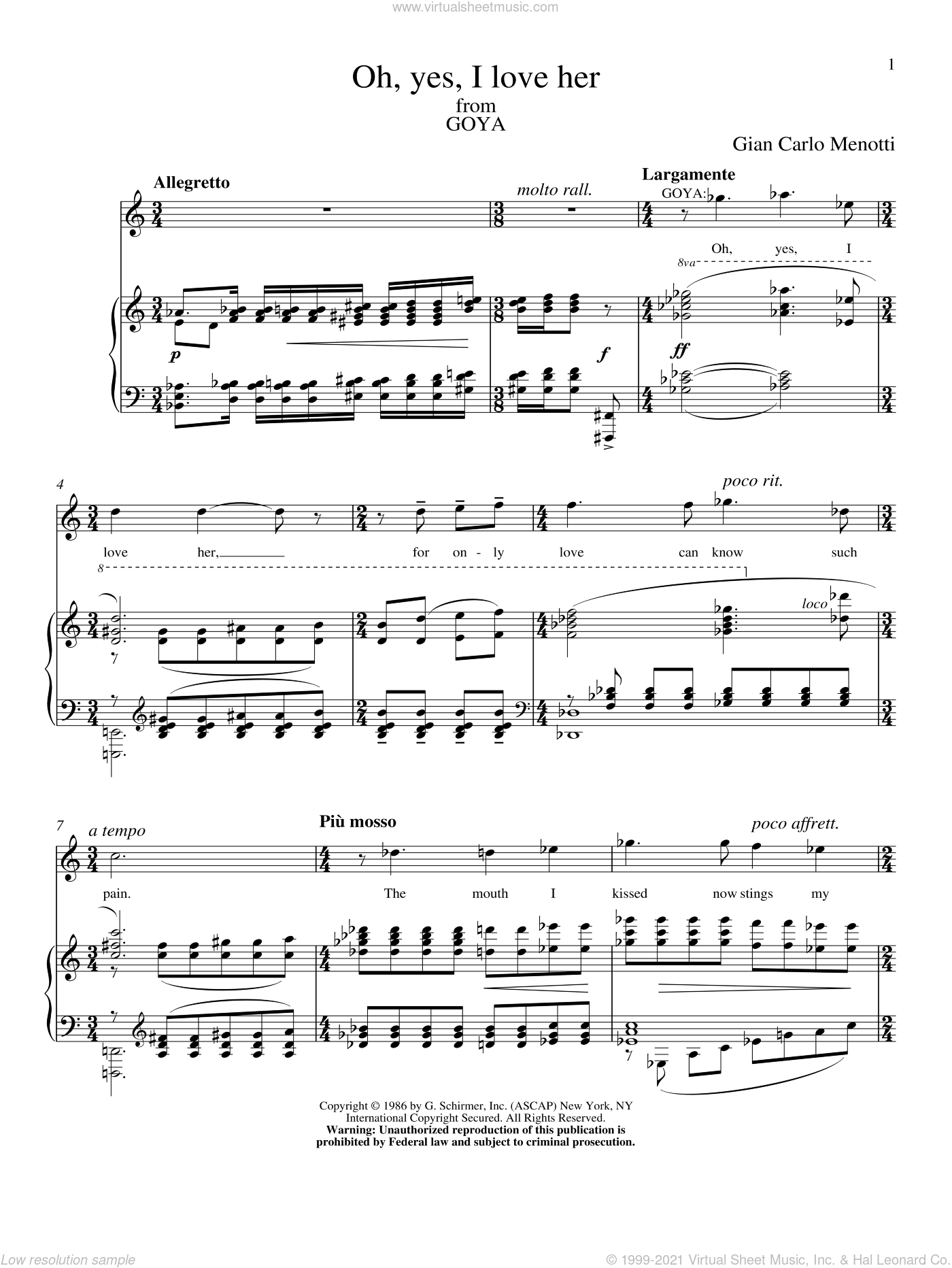 Oh, Yes, I Love Her sheet music for voice and piano by Gian Carlo Menotti, classical score, intermediate voice. Score Image Preview.