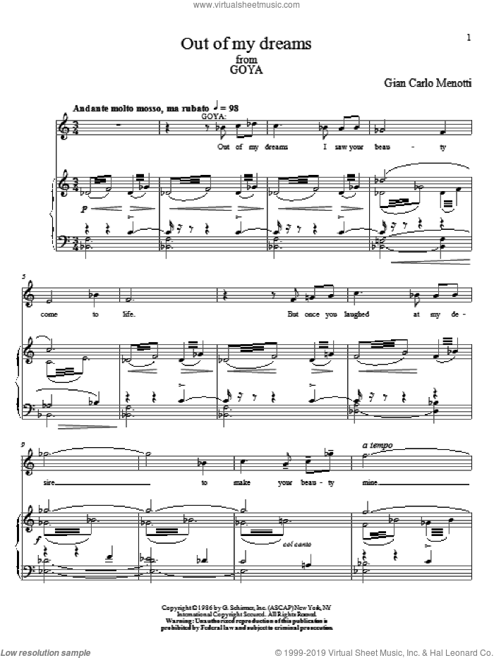 Out Of My Dreams sheet music for voice and piano by Gian Carlo Menotti, classical score, intermediate skill level