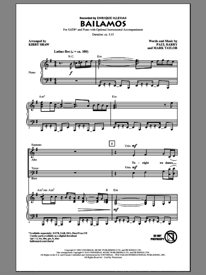 Bailamos sheet music for choir (SATB: soprano, alto, tenor, bass) by Kirby Shaw, Enrique Iglesias, Mark Taylor and Paul Barry, intermediate skill level