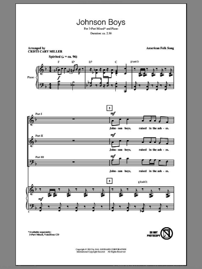 Johnson Boys sheet music for choir (3-Part Mixed) by Cristi Cary Miller and Miscellaneous, intermediate. Score Image Preview.