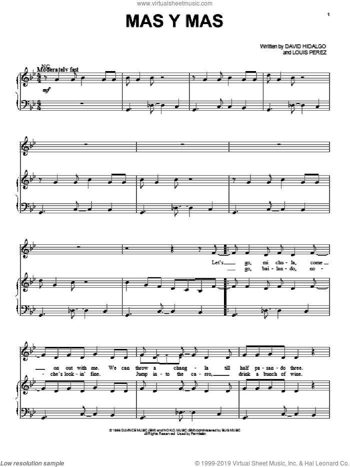 Mas Y Mas sheet music for voice, piano or guitar by Los Lobos, intermediate