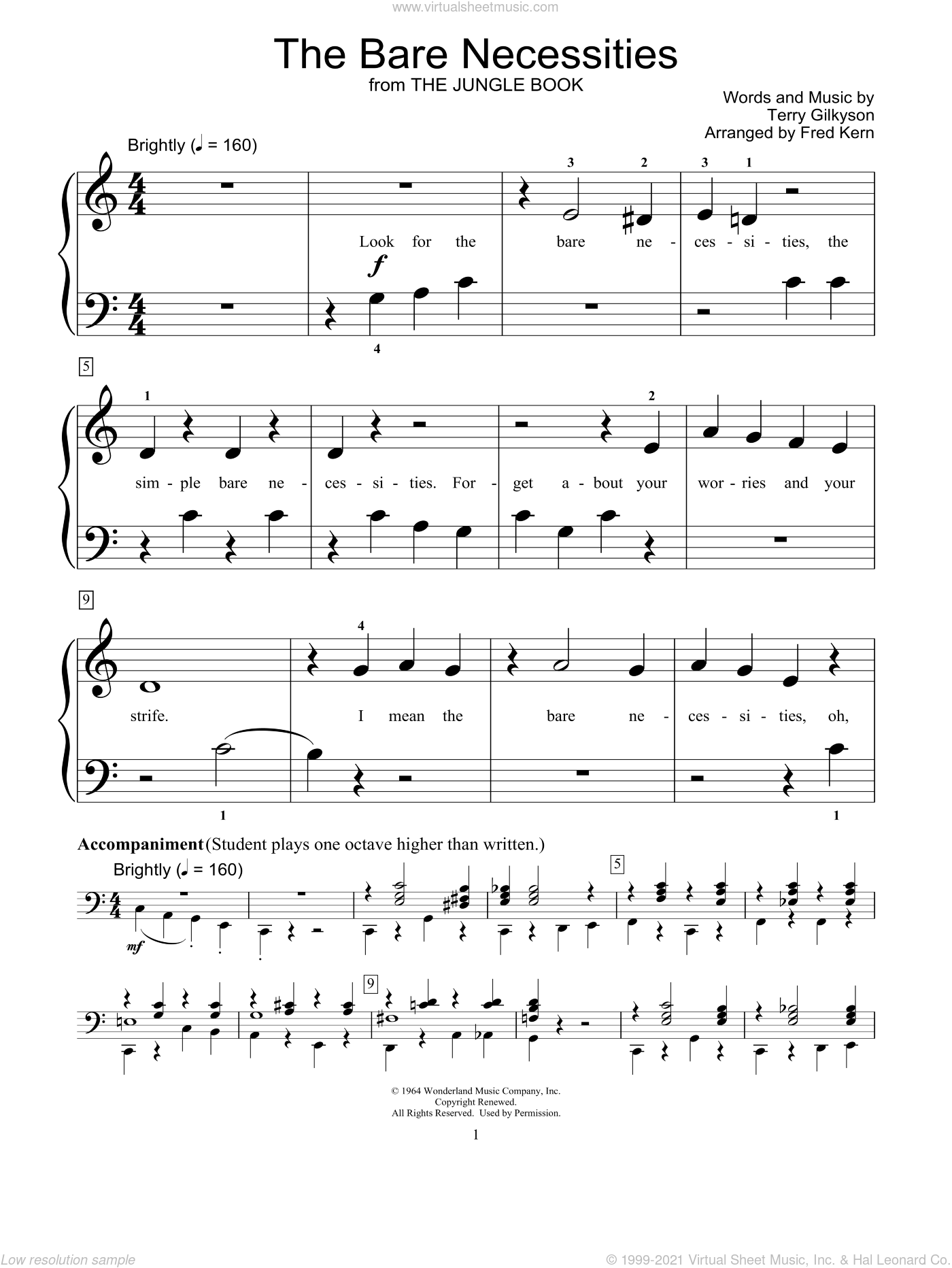 The Bare Necessities sheet music for piano solo (elementary) by Terry Gilkyson and Miscellaneous, beginner piano (elementary)