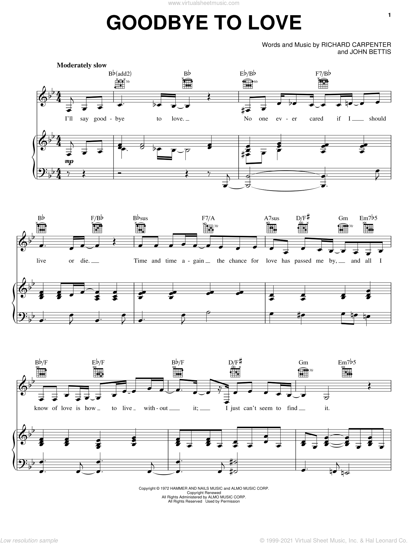 Goodbye To Love sheet music for voice, piano or guitar by Carpenters, John Bettis and Richard Carpenter, intermediate skill level