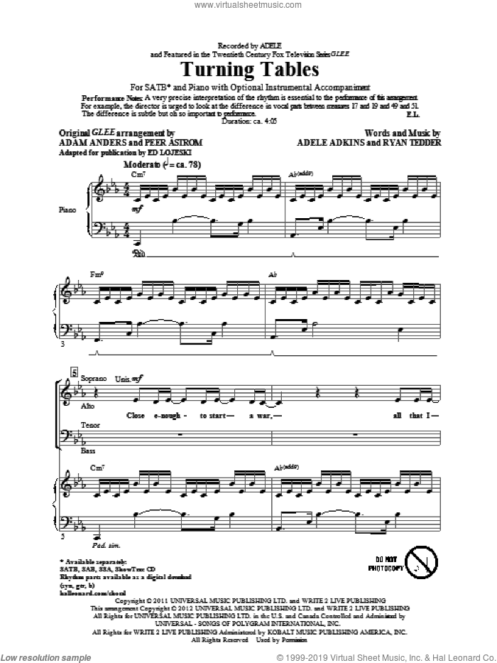 Turning Tables sheet music for choir (SATB) by Adele, Ed Lojeski and Glee Cast. Score Image Preview.
