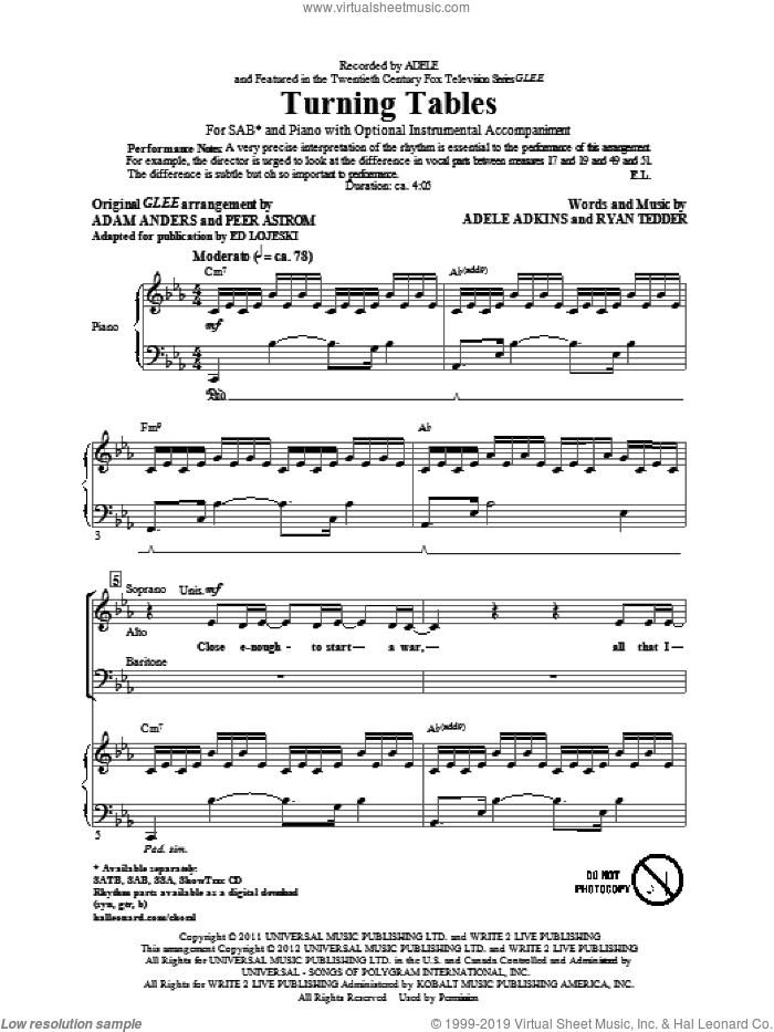 Turning Tables sheet music for choir (SAB: soprano, alto, bass) by Glee Cast, Adele and Ed Lojeski, intermediate skill level