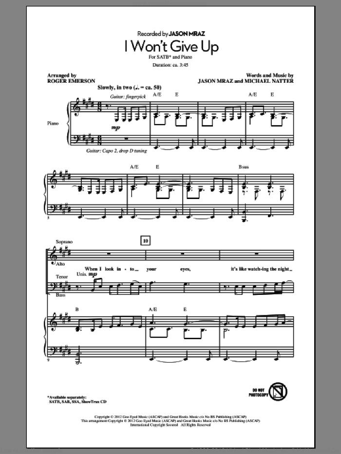 I Won't Give Up sheet music for choir (SATB: soprano, alto, tenor, bass) by Roger Emerson, Michael Natter and Jason Mraz, intermediate skill level