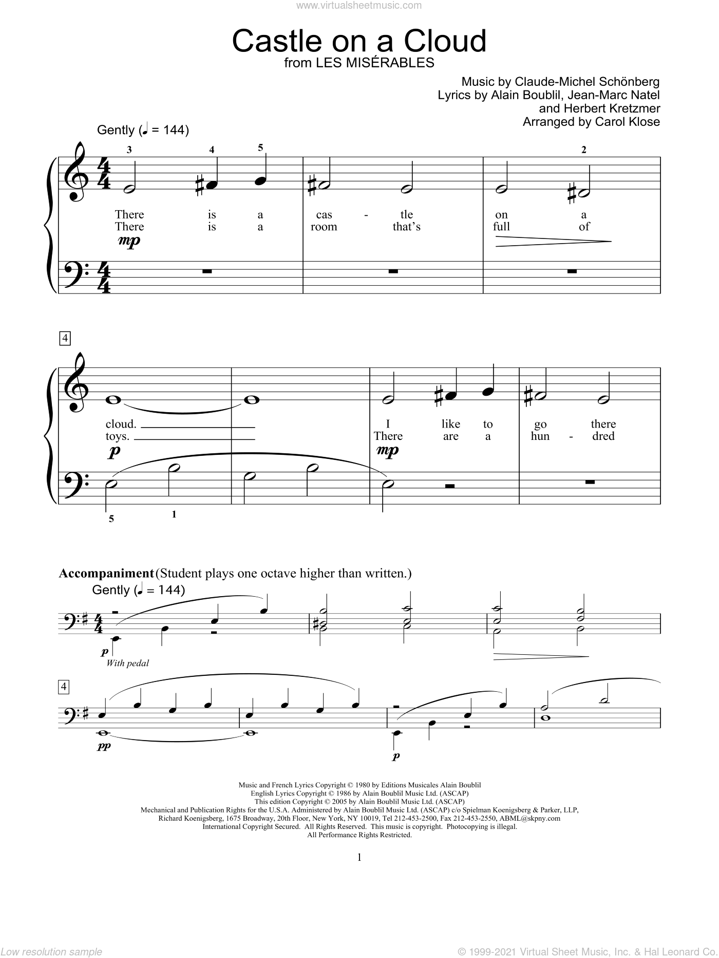 Castle On A Cloud sheet music for piano solo (elementary) by Alain Boublil, Carol Klose, Les Miserables (Musical), Miscellaneous, Claude-Michel Schonberg, Herbert Kretzmer and Jean-Marc Natel, beginner piano (elementary)