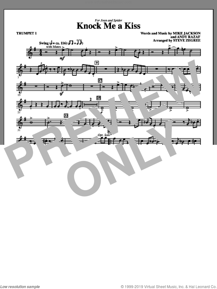 Knock Me A Kiss (complete set of parts) sheet music for orchestra/band by Andy Razaf, Mike Jackson and Steve Zegree, intermediate skill level