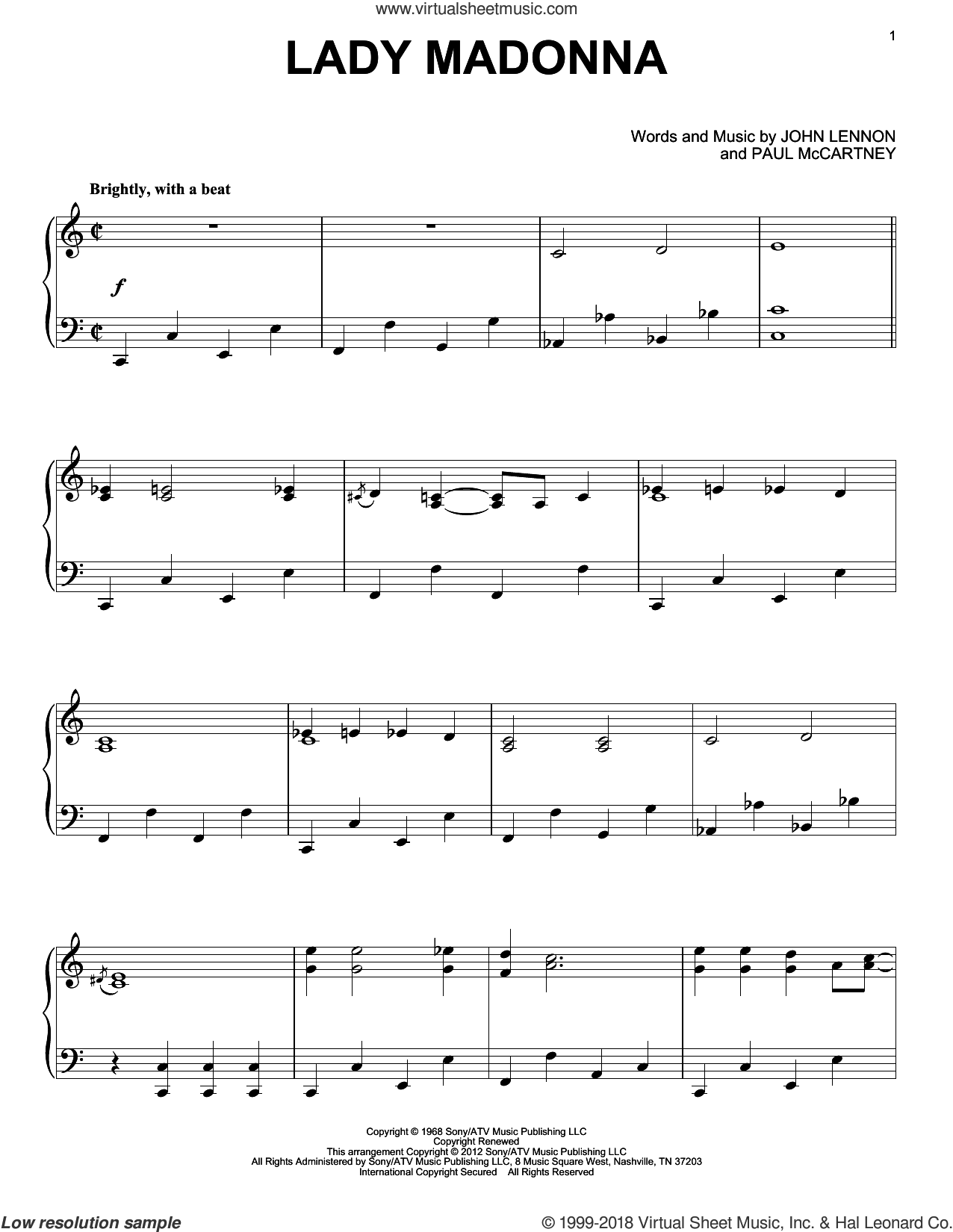 Lady Madonna sheet music for piano solo by The Beatles, John Lennon and Paul McCartney. Score Image Preview.
