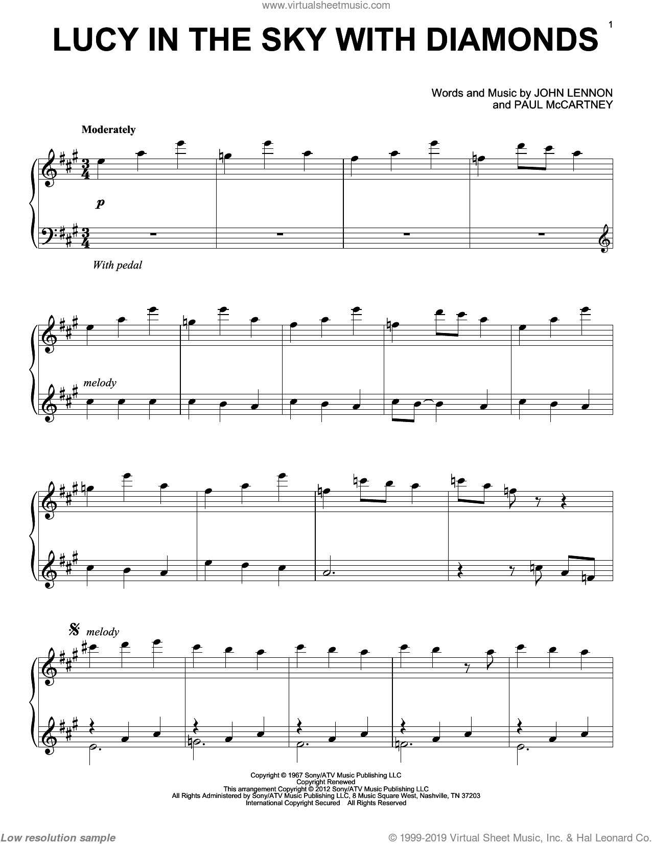 Lucy In The Sky With Diamonds sheet music for piano solo by The Beatles, John Lennon and Paul McCartney, intermediate skill level