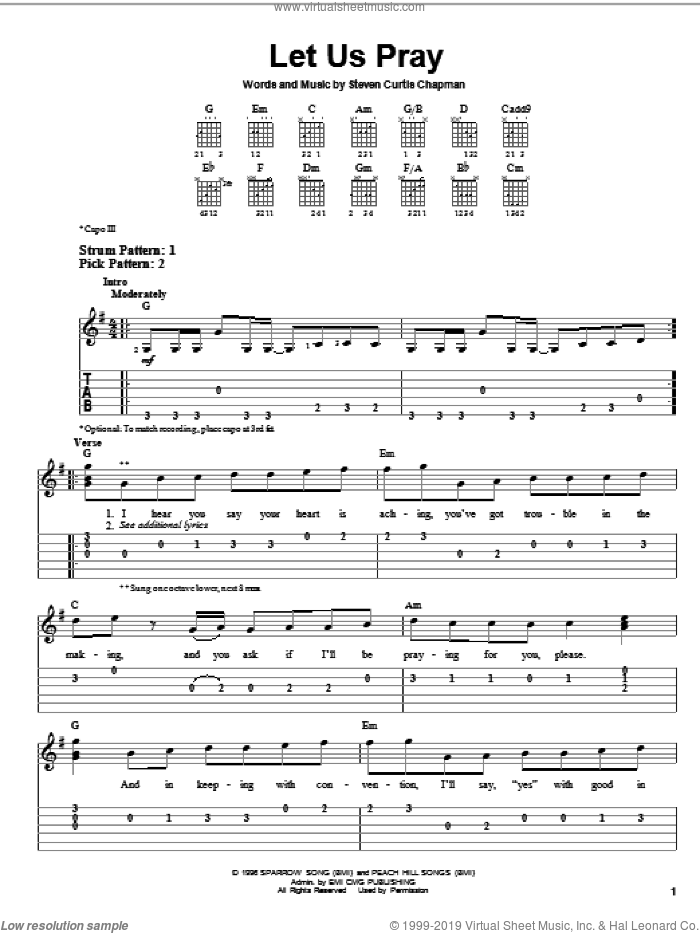 Let Us Pray sheet music for guitar solo (easy tablature) by Steven Curtis Chapman, easy guitar (easy tablature)